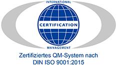 Klaus + Partner: Logo DIN ISO Zertifikat